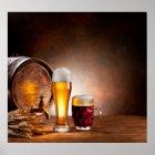 Bierfaß mit Biergläsern auf einer hölzernen Poster