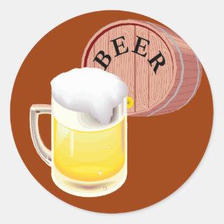 Bierfaß und Bier Stein Runder Aufkleber