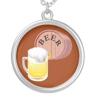 Bierfaß und Bier Stein Halskette Mit Rundem Anhänger