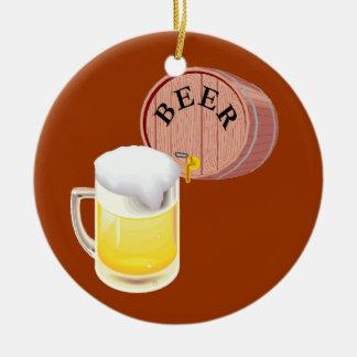 Bierfaß und Bier Stein Rundes Keramik Ornament