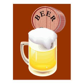 Bierfaß und Bier Stein Postkarte