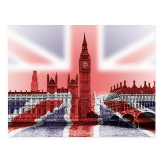 Big Ben London und Gewerkschafts-Jackflagge Postkarte