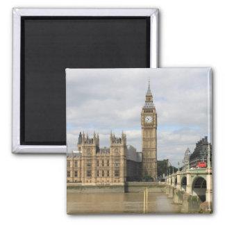 Big Ben und die Häuser des Parlaments London Quadratischer Magnet