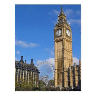 Big Ben und die London-Augen-Postkarte