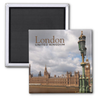 Big Ben und Parlament im London-Textmagneten Quadratischer Magnet