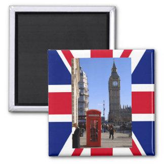 Big Ben und rote Telefonzelle in London Quadratischer Magnet