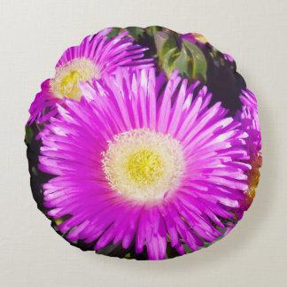 Big_Purple_Daisies, _Round_Cotton_Lounge_Cushion. Rundes Kissen