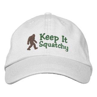 Bigfoot behalten es squatchy bestickte baseballkappe