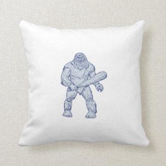 Bigfoot, der das Verein-stehende Zeichnen hält Kissen