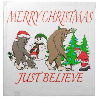 Bigfoot-Familien-Weihnachten 2 Stoffserviette