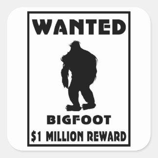 Bigfoot wollte Plakat Quadratsticker