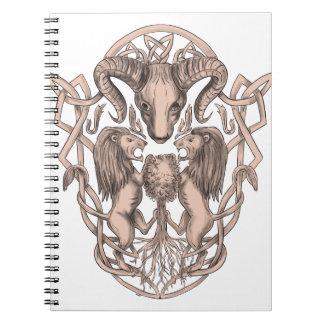 Bighorn-Schaf-Löwe-Baum-Wappen Celtic Knotwo Spiral Notizblock