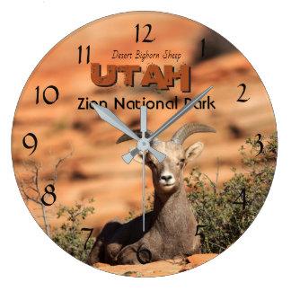 Bighorn-Schafe Zion Nationalpark-Utah-Foto Große Wanduhr
