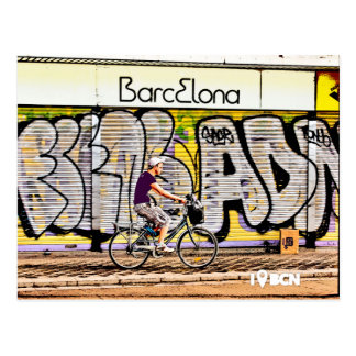 Bike riding on Barcelona, Spain, Postkarte