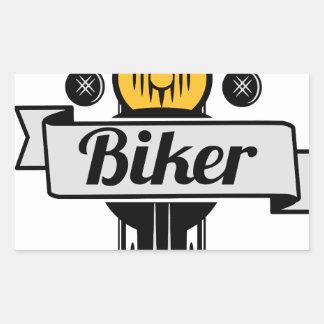 biker rechteckiger aufkleber
