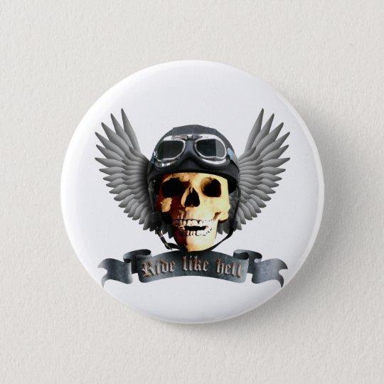 Biker Skull A Runder Button 5,7 Cm