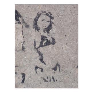 Bikini-Mädchen-Straßen-Kunst Postkarte