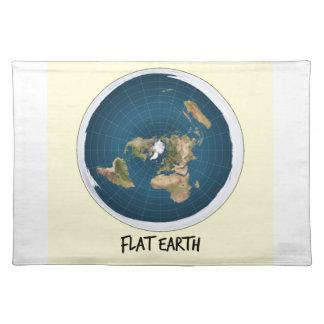 Bild der flachen Erde Stofftischset