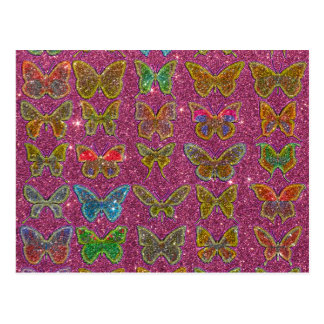 Bild der Glitter-bunten Schmetterlinge Postkarte