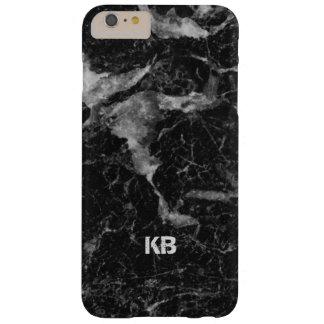 Bild der schwarzen u. grauen Marmorbeschaffenheit Barely There iPhone 6 Plus Hülle