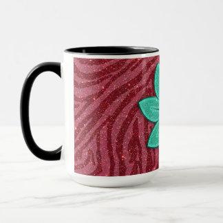 Bild des Glitter-Rosazebra-Druckes und der Tasse