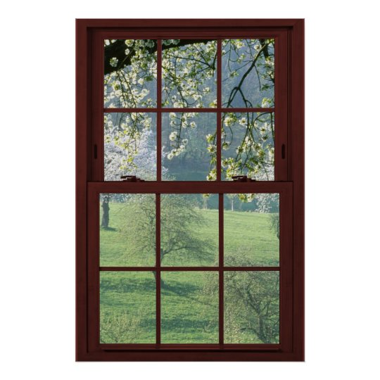 bild fenster landschaft kirschbl ten poster zazzle. Black Bedroom Furniture Sets. Home Design Ideas
