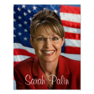 Bild Sarahs Palin mit wellenartig bewegender Flagg Poster