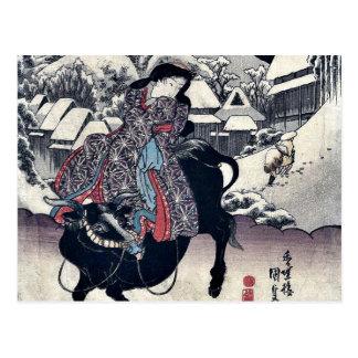 Bild von Kanbara durch Utagawa, Toyokuni Ukiyoe Postkarte