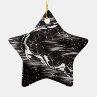 Bildmangel und weißes abstraktes keramik Stern-Ornament