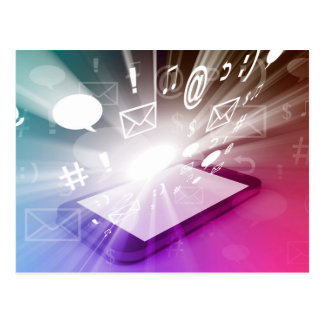 Bildschirm-intelligentes Telefon, das Apps und Postkarte