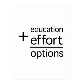 Bildung plus Bemühung entspricht Wahlen Postkarte