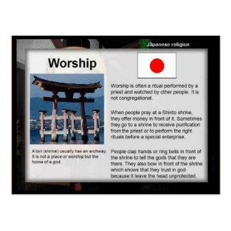 Bildung, Religion, japanische Shinto-Anbetung Postkarte