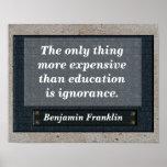 Bildungszitat - Benjamin Franklin Poster