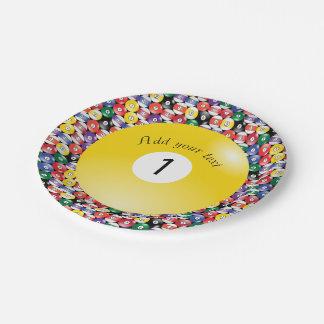 Billard-Pool Ball-feste Zahl eine Pappteller