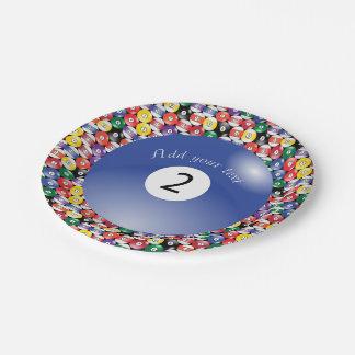 Billard-Pool-Ball-Körper-Nummer zwei Pappteller