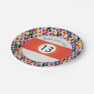 Billard-Pool-Ball-Streifen Nr. dreizehn Pappteller