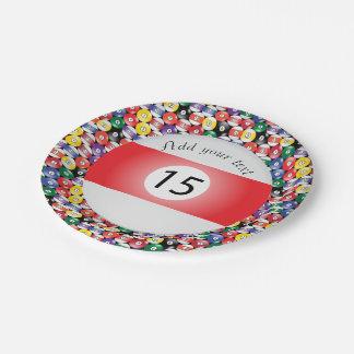 Billard-Pool-Ball-Streifen Nr. fünfzehn Pappteller