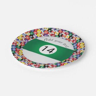 Billard-Pool-Ball-Streifen Nr. vierzehn Pappteller