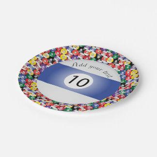 Billard-Pool-Ball-Streifen Nr. zehn Pappteller