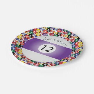 Billard-Pool-Ball-Streifen Nr. zwölf Pappteller