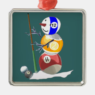 Billardkugel-Schneemann Silbernes Ornament