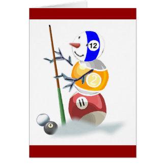 Billardkugel-Schneemann-Weihnachten Karte