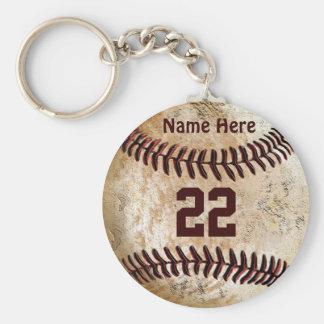 Billiger Baseball Keychains NAME, ZAHL für TEAM Standard Runder Schlüsselanhänger