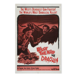 Billy das Kind gegen, Retro Film-Plakat Draculas Poster