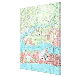 Biloxi Mississippi Map (1992) Leinwanddruck