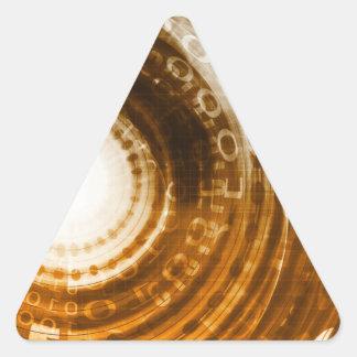 Binäre Daten-abstrakter Hintergrund für Digital Dreieckiger Aufkleber