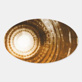 Binäre Daten-abstrakter Hintergrund für Digital Ovaler Aufkleber