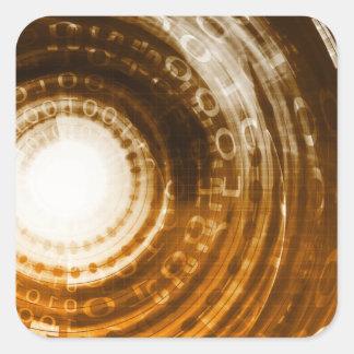Binäre Daten-abstrakter Hintergrund für Digital Quadratischer Aufkleber