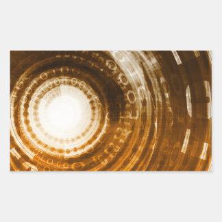 Binäre Daten-abstrakter Hintergrund für Digital Rechteckiger Aufkleber