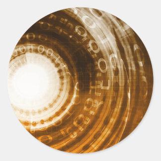 Binäre Daten-abstrakter Hintergrund für Digital Runder Aufkleber